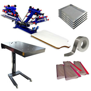 Manual 4 Color Screen Printing Press Kit Flash Dryer Squeegee Screen Frame