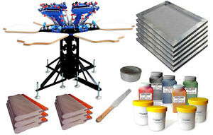 Screen Printing Press 6 Color Shirt Diy Kit Screen Printer Squeegee Ink Frame