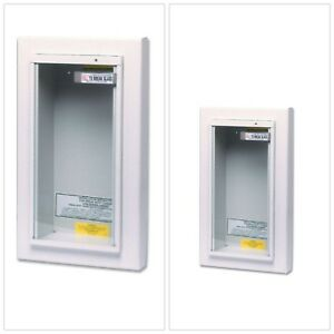 Fire Extinguisher Cabinet White Galvanized Steel Semi Recessed Tempered Glass Us