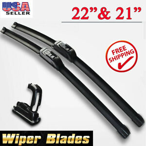 22 21 Inch Bracketless Windshield Wiper Blades J Hook All Season Oem Quality