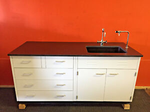 Industrial Laboratory Soap Stone Top Cabinet Sink