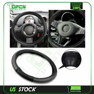 Black Grey New Universal 38 40cm Pvc Leather Auto Car Steering Wheel Cover