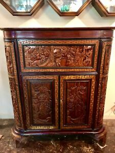 Antique Chinese Lacquered Carved Camphor Wood Bar Cabinet