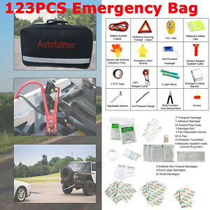 123 Pcs Roadside Auto Bag Accessories Car Kit With Travel Roadside Emergency Kit
