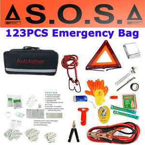 First Aid Kit Roadside Emergency Bag Home Car Outdoor Survival Kit W Breaker