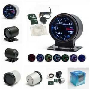 2 52mm 7 Color Led Smoke Face Car Auto Bar Turbo Boost Gauge Meter With Sensor
