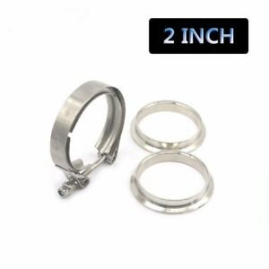 Universal 2 Inch Turbo Exhaust Down Pipe Stainless Steel V Band Clamp 2 Flange