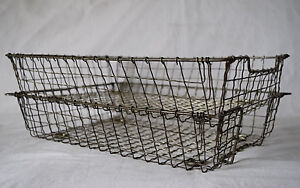 Two Rare Vintage Metal Mesh Wire Letter Tray Storage Display File Fruit Baskets