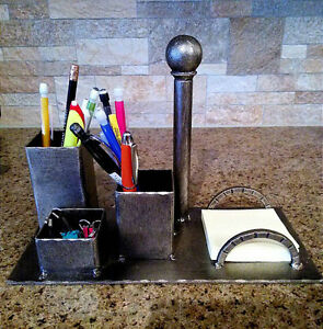 Desktop Organizer Iron Business Card Holder Pencil Cup Dallas Texas Office