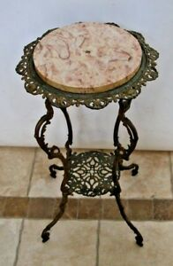 Gorgeous Antique Brass Art Nouveau Plant Stand Ornate Iron Pink Marble Top