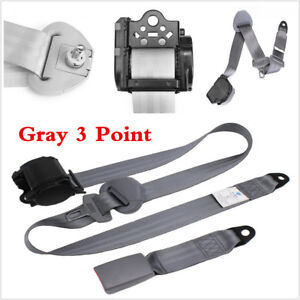 Universal 3 Point Retractable Car Seat Belt Bolt Automatic Safety Strap Buckle