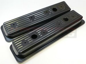 1987 Sbc Small Block Chevy Center Bolt Black Valve Covers 5 0 5 7 Stock 305 350