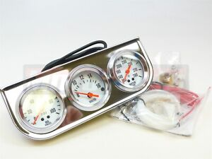 Universal 2 Chrome Oil Pressure Water Volt Triple 3 Gauge Set Gauges Kit
