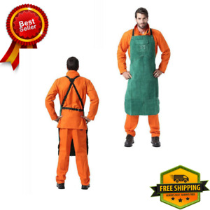 Allyprotect Green Length 42 Flame Heat Resistant Leather Bib Apron With Pocket