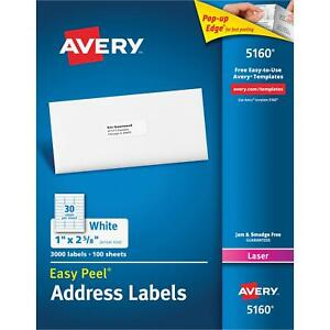 Avery Easy Peel Address Labels Laser 1 X 2 5 8 3000 Count