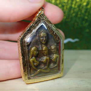 Phra Khun Paen Pendant Lp Tim Powerful Gold Color Amulet Lucky Love Wealth