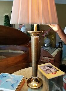 Large Vintage Tomasso Barbi Style Italian Lucite And Gilt Porcelain Table Lamp