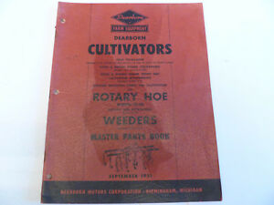 Original Ford Cultivators Rotary Hoe Weeders 1951 Master Parts Book
