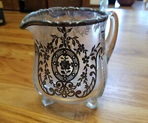Antique Silver Overlay Glass Footed Pitcher C1930