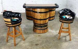 Mid Century Whiskey Barrel Bar And Swivel Bar Stools By Brothers Of Kentucky
