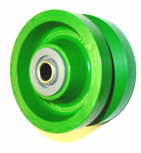 set Of 4 Solid Green Polyurethane 4 x2 V groove Wheel With 5 8 Id Bearing
