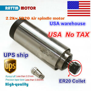 Us Quality 2 2kw Air Cooled Spindle Motor Er20 80mm 220v 24000rpm For Cnc Router