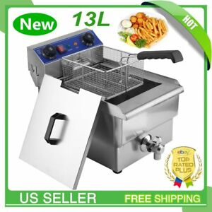 13l Commercial Restaurant Electric Deep Fryer Stainless Steel W Timer Drain Qn