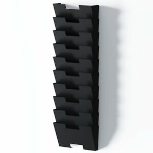 Wallniture Lisbon Black Wall Mounted Steel File Holder Organizer Rack 10