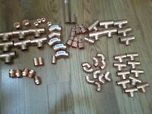 62 Piece Lot Of Copper Fittings 1 2 3 4 Tee Elbow Etc