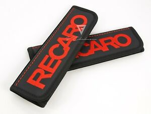 Car Seat Belt Leather Shoulder Pads Covers For Recaro Embroidery Red