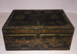 Antique Document Box Old Decoupage Dovetailed Early 1800 S Rare