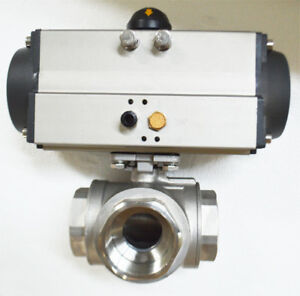 Npt 2 Single Acting 3 way Valve Pneumatic Actuated Ball Valve New