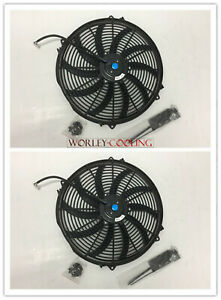 2 Universal 16 Inch Universal Electric Radiator Fans New With Mounting Kits