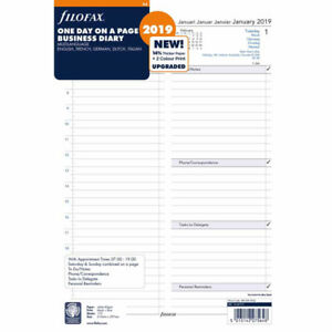 Filofax A4 Size 2019 One Day On A Page Business Diary 5 Language Refill 19 68719