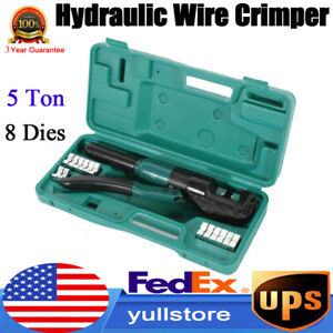 5 Ton Hydraulic Wire Battery Cable Lug Terminal Crimper Crimping Tool W 8 Dies