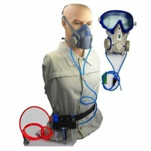 Half Face Airfed Breathing Mask 3 Filtration Respirator Kit For Gas paint Sp Uw