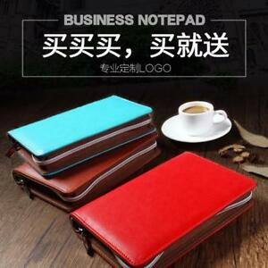 Stationery Office Executive Business Fine Leather Zipper Ring Binders School