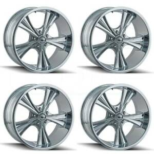 4 new 18 Ridler 651 Wheels 18x8 18x9 5 5x5 5x127 0 0 Chrome Staggered Rims