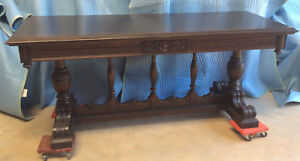 Sofa Library Console Table Large Antique Mahogany Two Drawers C1920s 30s