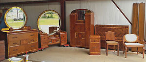 Waterfall Art Deco Best Bedroom Suite Inlaid Etched Mirrors C1930 S 40s 7pc