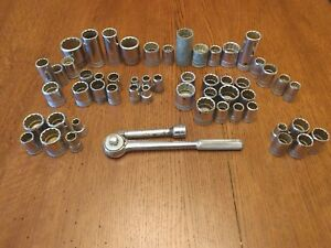 56 Piece Sk Socket Set Tool Lot sk S k S k S k 1 2 And 3 4 Drive With 42470
