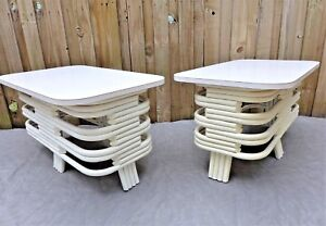 Pair Stacked Bamboo Side Tables White Mid Century End Tables Paul Frankl Style