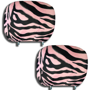 Zebra Print Headrest Covers Black Pink Pair 12 X 9 Universal