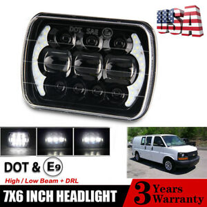 7x6 5x7 85w Led Headlight Hi lo Drl For Chevy Express Cargo Van 1500 2500 3500