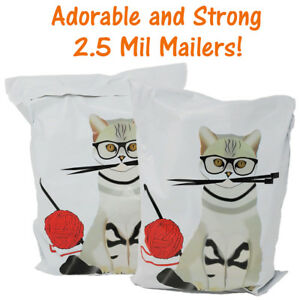 10x13 Cat Art And Craft Poly Mailers Designer Shipping Self Seal Shipping Bags