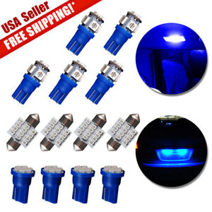 13x Ultra Blue T10 Led 31mm Festoon Bulb Interior Package Kit For Dome Map Li