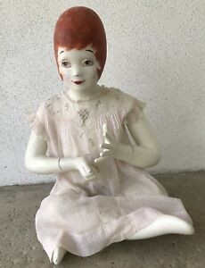 Unusual Female Mannequin Sitting Hand Painted Red Head Vintage
