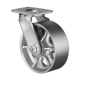 Heavy Duty Swivel Caster 10 x3 Steel Wheel Top Plate 4 1 2 x6 1 4 2400 Cap