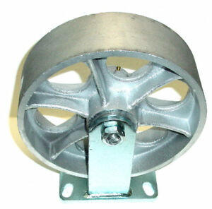 Heavy Duty Rigid Caster 10 x3 Steel Wheel Top Plate 4 1 2 x6 1 4 2500 One