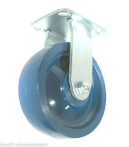 Stainless Steel Rigid Caster 8 x2 Solid Poly Wheel 4 x4 1 2 Plate Blue1000 cap